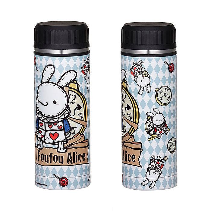 《Foufou》不繡鋼保溫保冷瓶(350ml)-時鐘兔