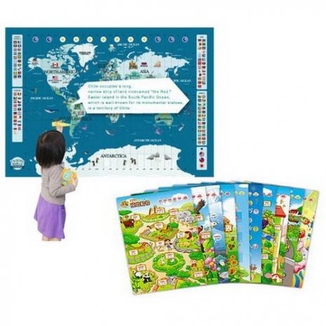 【智點 學習工廠】中、英、日 三語點讀世界地圖認知百科套裝+幼兒基礎認知海報系列