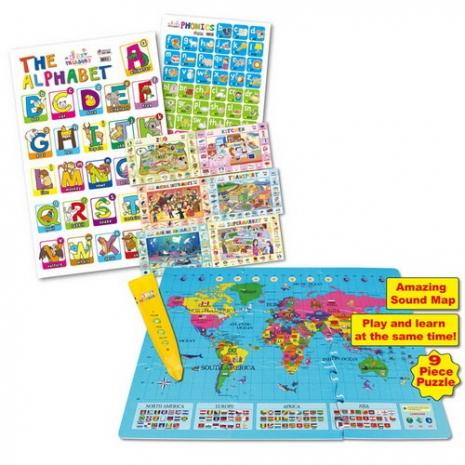 世界地圖巧拼地墊+點讀認知學習海報8款
