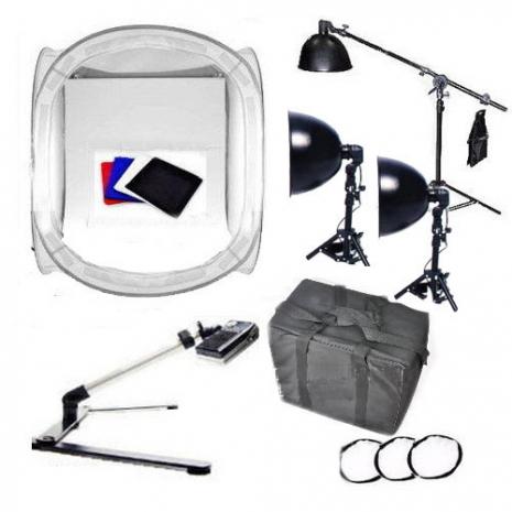 專業型 銀鑽三燈架 80cm攝影棚 翻拍架 超值攝影組