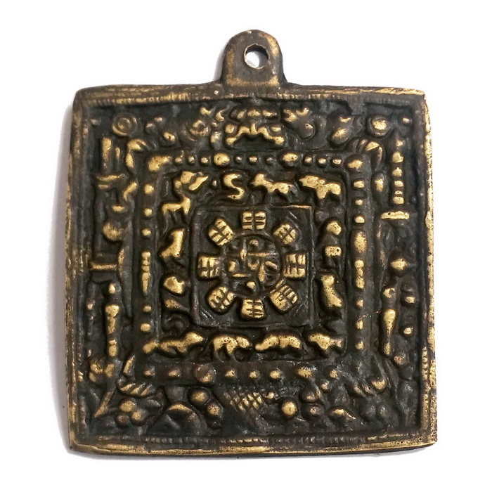手工銅製 九宮八卦銅板-古銅色(6公分)