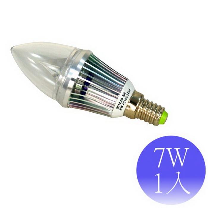 【順合】7W E14 LED全電壓 尖清燈泡-1入(白光/黃光)白光