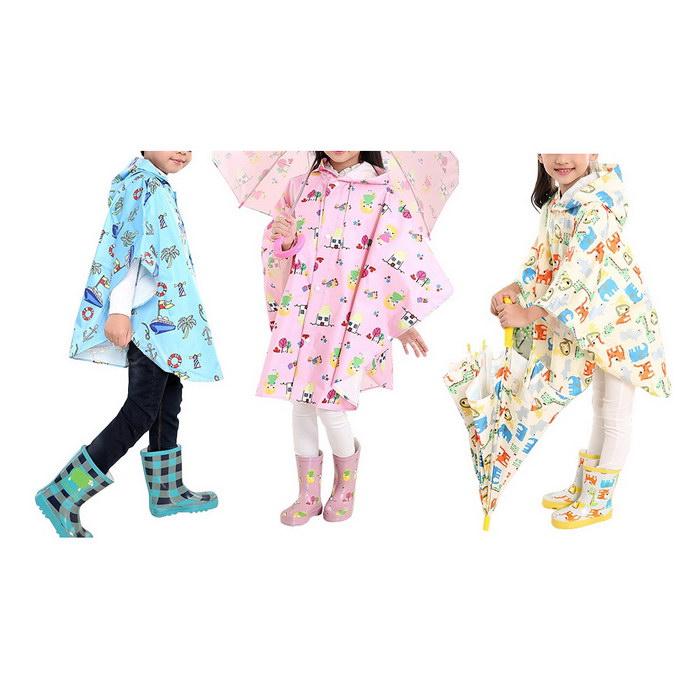 百搭兒童斗篷雨衣(藍色/粉紅/米黃)米黃