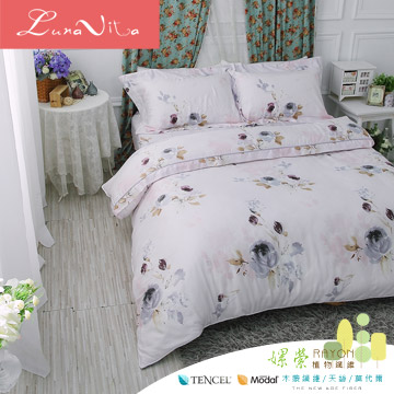 Luna Vita 雙人 100%天絲 鋪棉兩用被四件組 -水墨花香