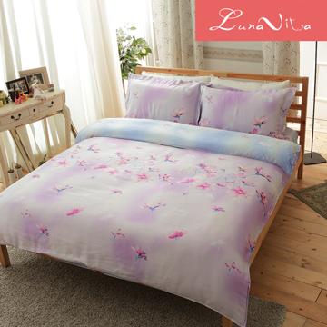 Luna Vita 雙人 天絲,木漿纖維 鋪棉兩用被四件組 -花湘霏霏
