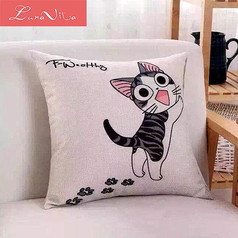 Luna Vita 居家簡約風采棉麻 靠枕/抱枕-起司貓