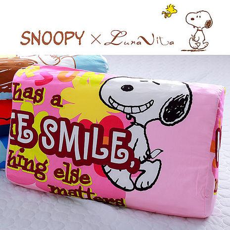 Luna Vita X SNOOPY加大兒童乳膠枕-微笑花園