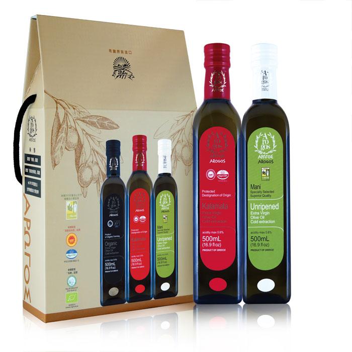 奧羅果初榨橄欖油禮盒二入(原產地保證+早熟成)500mlx2入