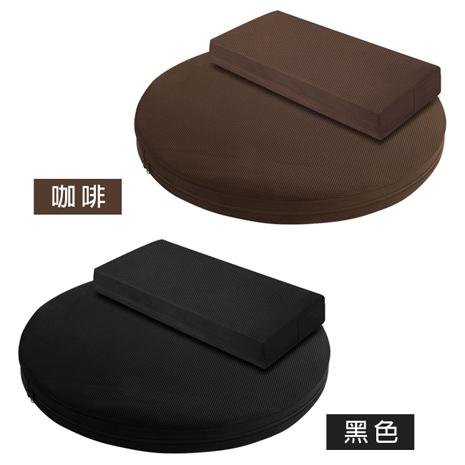 【源之氣】竹炭靜坐墊組合/二色可選 (大圓形+小四方加高)+竹炭靜坐毛毯(40123+10366)咖啡色