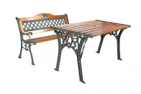 BROTHER 兄弟牌歐式雙人花網鑄鐵公園椅(附椅背)+鑄鐵公園桌