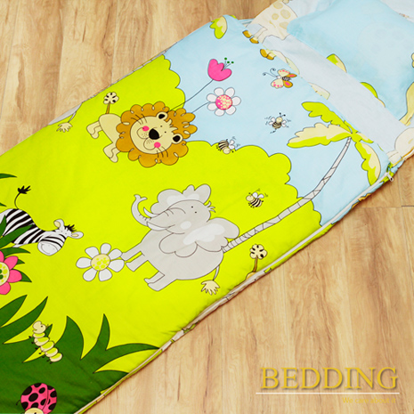 搶購【BEDDING】100%棉 舖棉冬夏兩用兒童睡袋(森林王國)