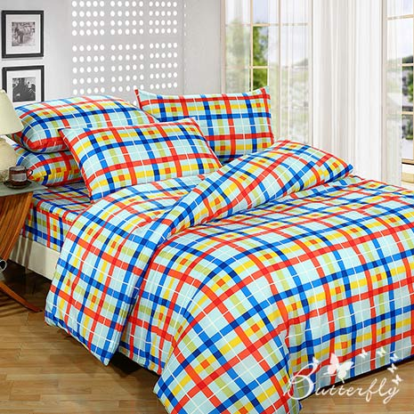 【BUTTERFLY】格子節奏-紅 雙人枕套床包三件組(特賣)