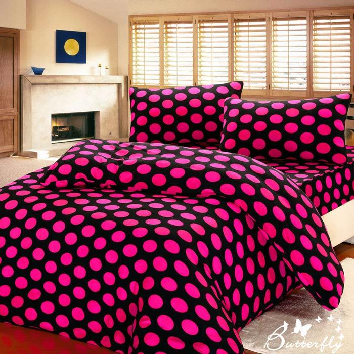 【BUTTERFLY】 抗寒暖呼呼 搖粒絨雙人床包被套組 普普艷紅