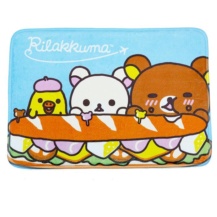 【BEDDING】拉拉熊吃漢堡-藍 居家防滑腳踏墊