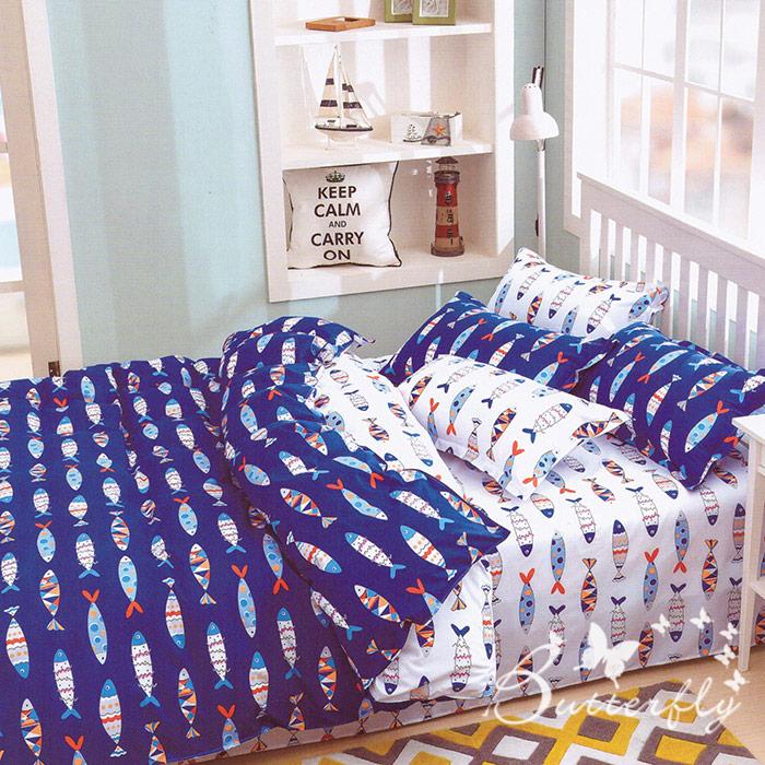 BUTTERFLY 柔絲絨 雙人薄床包枕套三件式 【好多魚-藍】(特賣)