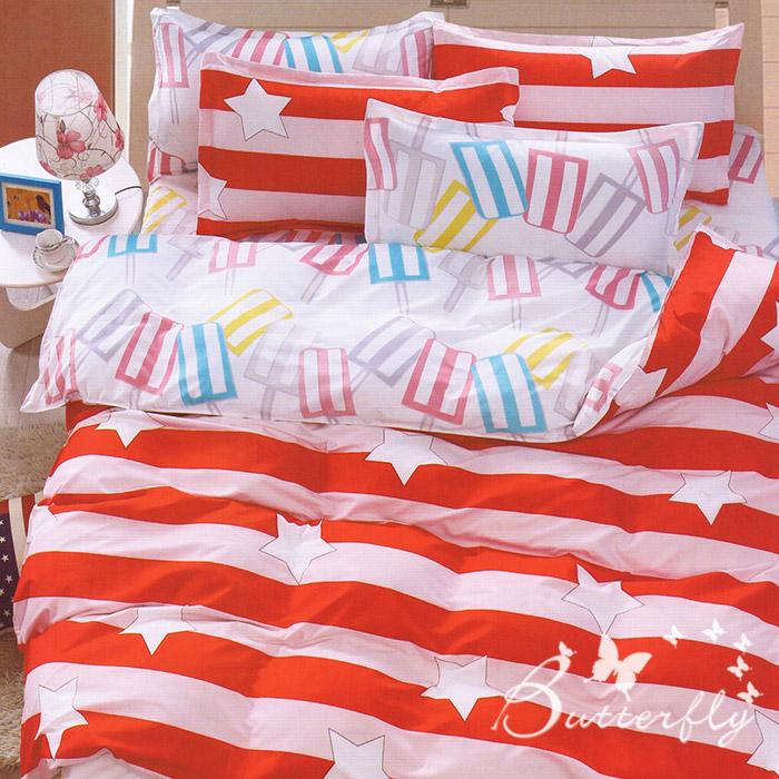 BUTTERFLY 柔絲絨 雙人薄床包枕套三件式 【星晨-紅】(特賣)
