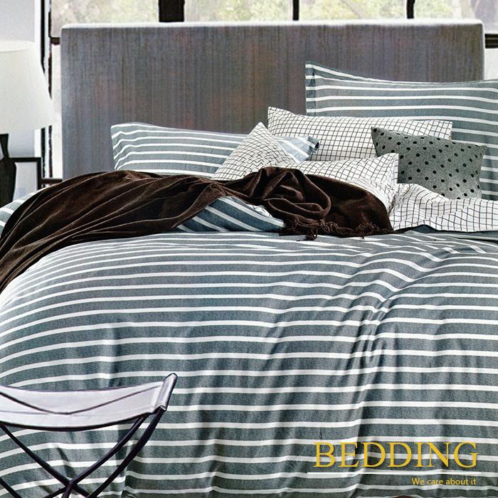 【BEDDING】歐比亞 100%棉雙人加大四件式床包被套組