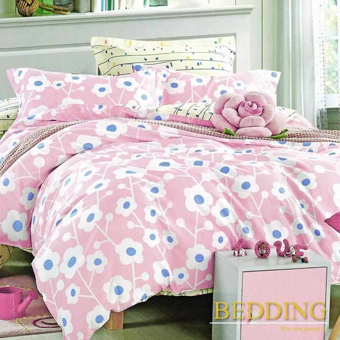 【BEDDING】夏姿綻放-粉 100%棉雙人加大四件式床包被套組