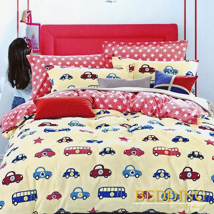 【BEDDING】汽車之家 100%棉雙人加大四件式床包被套組