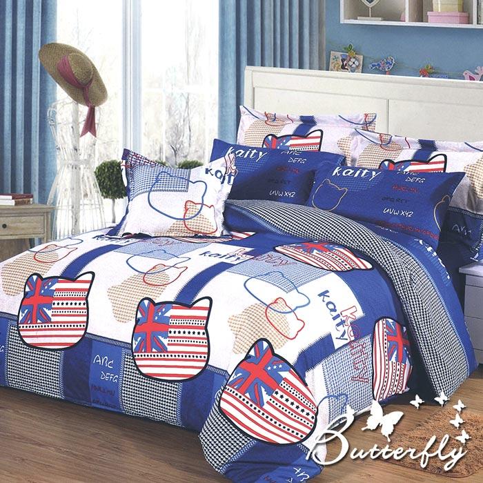 BUTTERFLY 柔絲絨單人薄床包 單件含枕套 【英倫凱蒂-藍】(特賣)