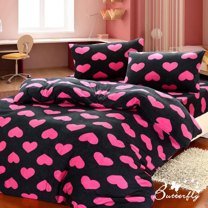 【BUTTERFLY】 抗寒暖呼呼 搖粒絨雙人床包被套組 桃紅傾心