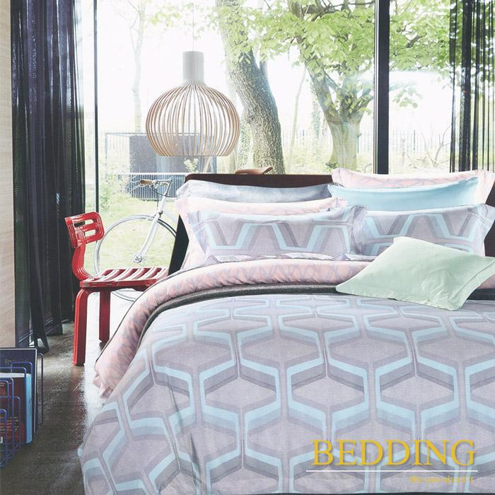 【BEDDING】 多維空間(藍) 天絲雙人床包兩用被組100%TENCEL(特賣)