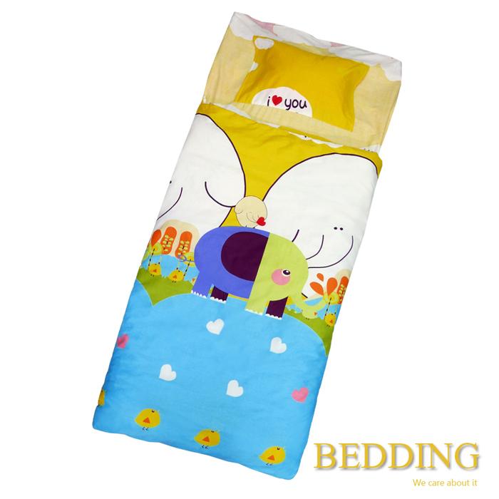 【BEDDING】100%棉 舖棉冬夏兩用兒童睡袋(小象精靈)