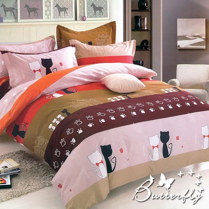 BUTTERFLY 柔絲絨單人薄床包 單件含枕套 【貓咪情緣】(特賣)