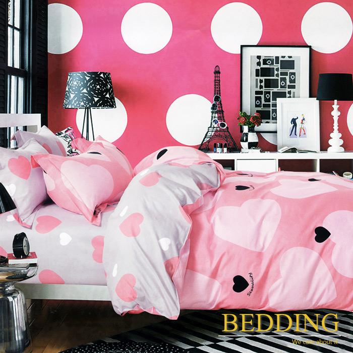 【BEDDING】100%棉 雙人床包枕套三件式 小甜甜-粉