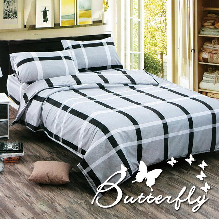 BUTTERFLY - 柔絲絨 雙人薄床包枕套三件式「都市格調」台灣製造(特賣)