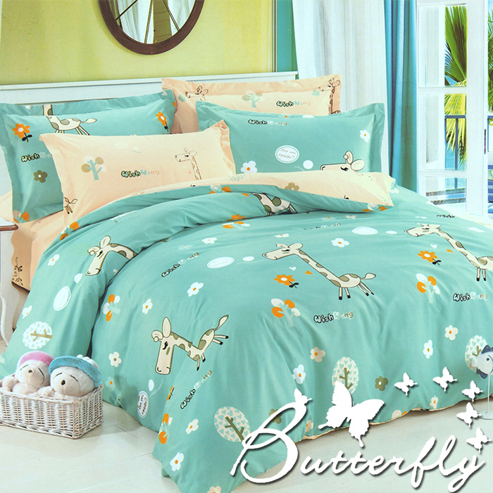 BUTTERFLY - 柔絲絨 單人薄床包枕套兩件式「歡樂小鹿」台灣製造(特賣)