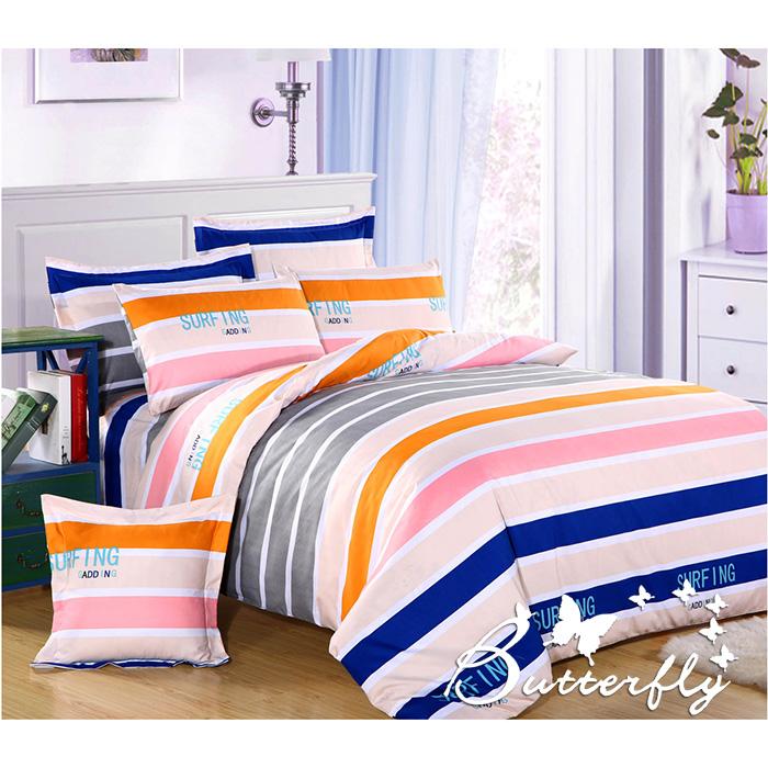 【BUTTERFLY】柔絲絨 雙人薄床包枕套組「休閒一派」(特賣)