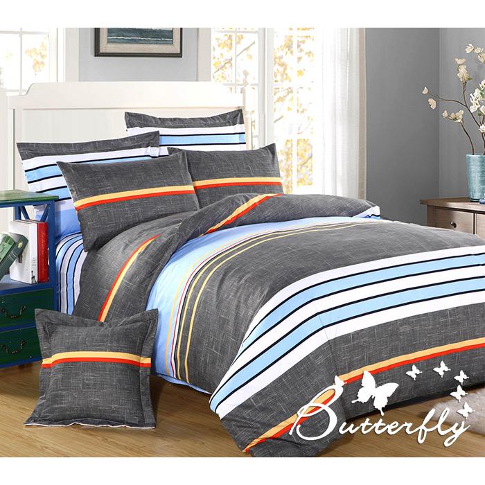 【BUTTERFLY】柔絲絨 雙人薄床包枕套組「流行元素」(特賣)