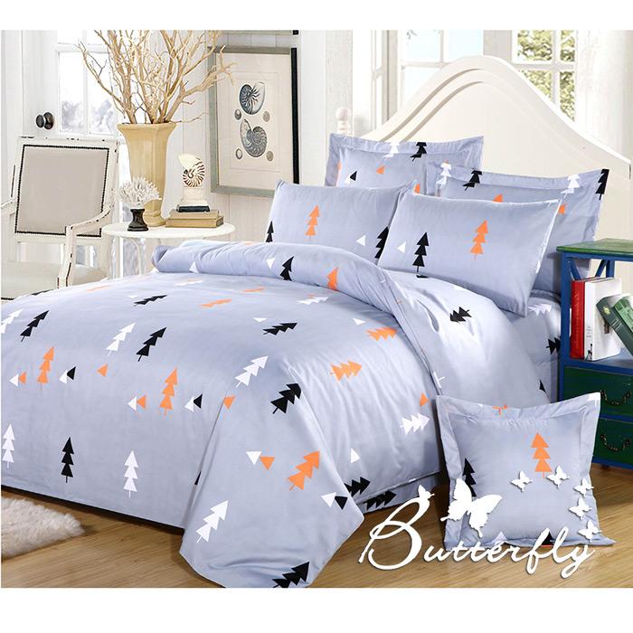 【BUTTERFLY】柔絲絨 雙人薄床包枕套組「森林秘密」(特賣)