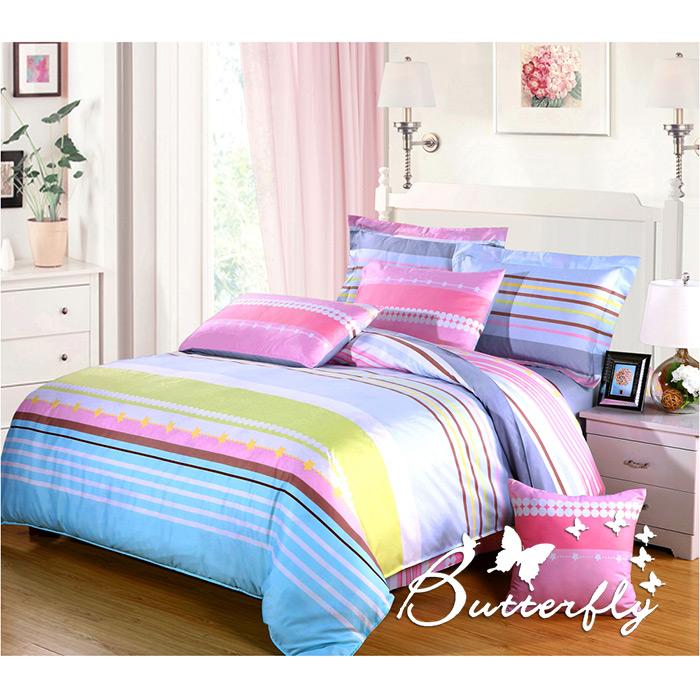 【BUTTERFLY】柔絲絨 雙人薄床包枕套組「趣味繽紛」(特賣)