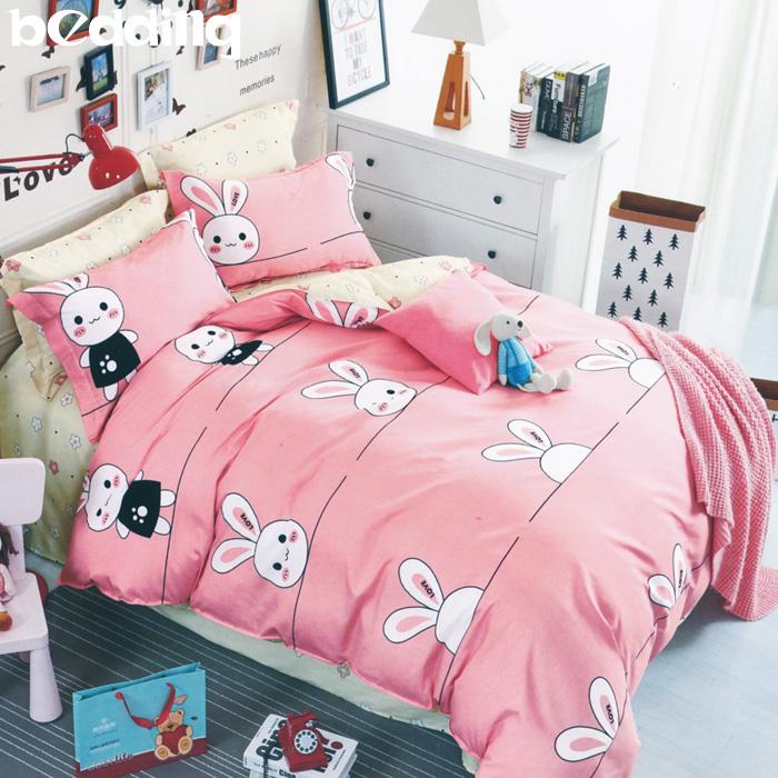 BEDDING - 雙人鋪棉床包兩用被套四件組 100%純棉「三月兔」