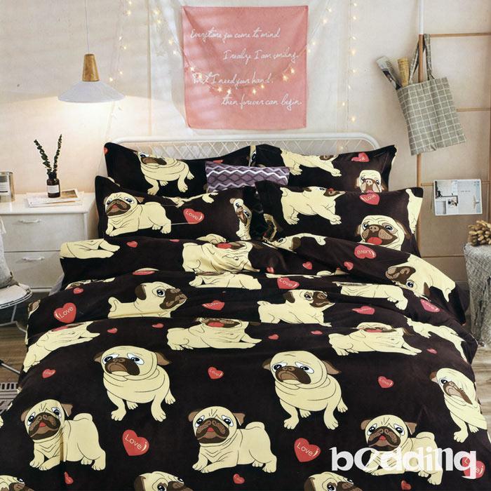 BEDDING-活性印染5尺雙人薄床包三件組-歡樂狗