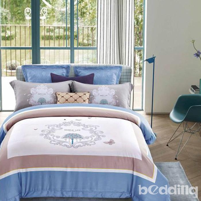 BEDDING-60支100%天絲-加大薄床包鋪棉兩用被套四件組-魔法森林