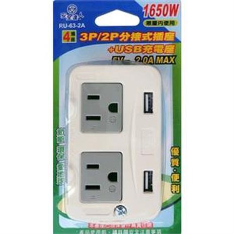 安全達人 雙用分接式插座+USB充電座 RU-63-2A