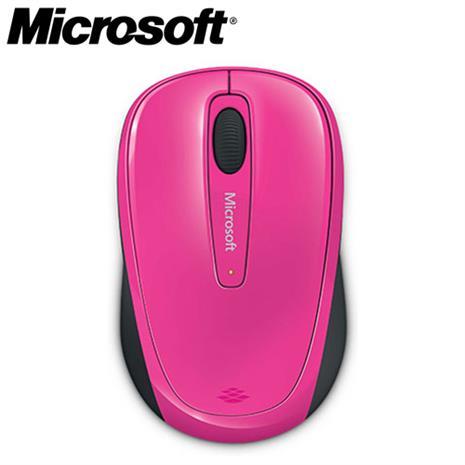 Microsoft微軟 3500 2.4G 繽紛色彩無線行動滑鼠 桃紅色