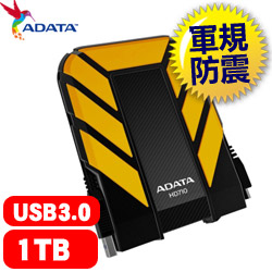 ADATA威剛 HD710 1TB 2.5吋 軍規防水防震 行動硬碟 黃