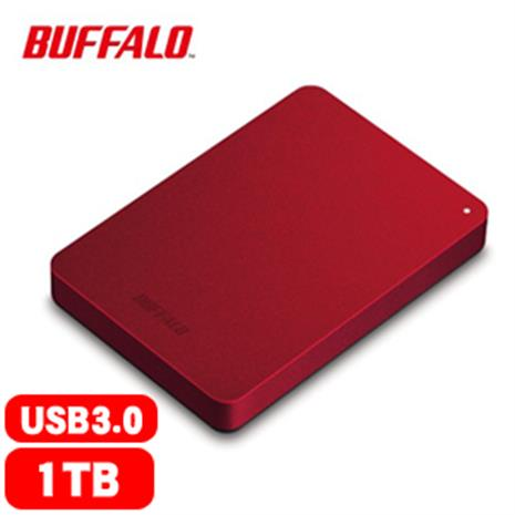 BUFFALO 巴比祿 2.5吋 1TB 防震加密行動硬碟 紅 HD-PNF