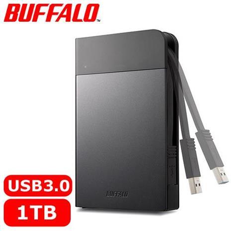 BUFFALO 2.5吋 1TB 軍規防震加密行動硬碟 黑 HD-PZFU3