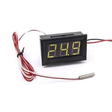 防水型0.56三位元 LED溫度錶頭/PT100(黑殼黃綠光)
