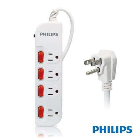 PHILIPS SPB1641WA 四開四插延長線 1.8M 白色