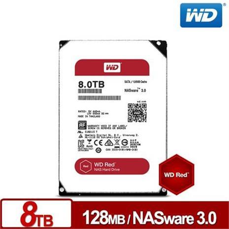 WD 紅標 3.5吋 8TB SATA3 NAS專用內接硬碟 80EFRX