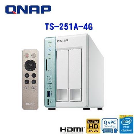 QNAP威聯通 TS-251A-4G 2Bay網路儲存伺服器