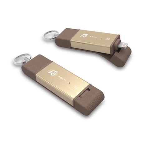 亞果元素iKlips DUO Apple專用雙向USB3.1極速多媒體行動碟 32GB 金色