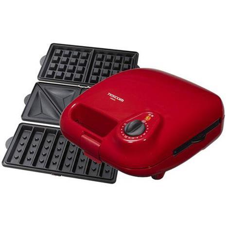 TESCOM HSM530紅色鬆餅機三明治機 (附三種烤盤)