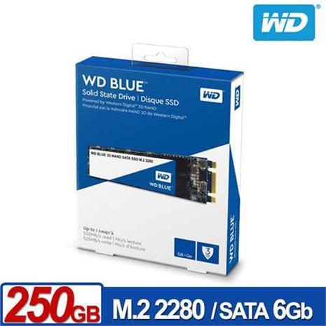 WD 藍標SSD 250GB M.2 2280 SATA 3D NAND固態硬碟